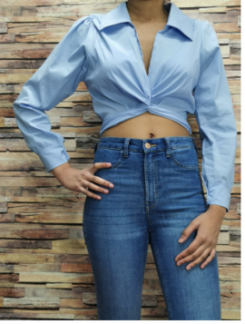 Cropped skjorte top