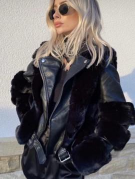 Kombineret læder og pels jakke