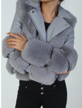 Skindjakke med faux fur