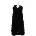 Lang faux fur vest med hætte