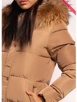Lang dunjakke med pelshætte