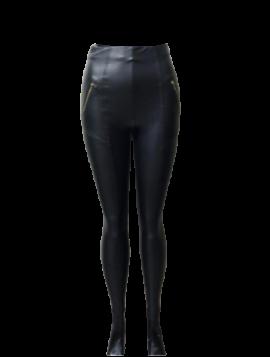 Imiteret læder bukser med lynlås