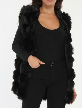 Sort Faux Fur Vest