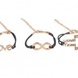 3 sorte armbånd med forskellige guldvedhæng