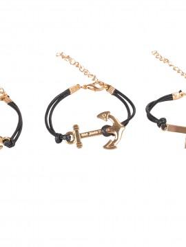 3 Sorte armbånd med guld vedhæng
