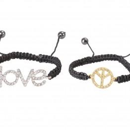 """Justerbare sorte armbånd med """"love"""" og """"peace"""""""
