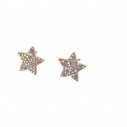 Stjerne øreringe med multi farvet similisten. Guld look