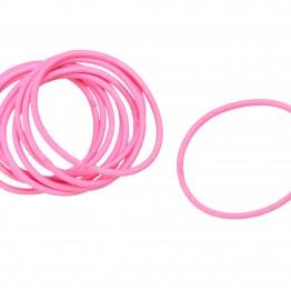 Image of   Bundt med 10 stk Lyserøde hårelastikker