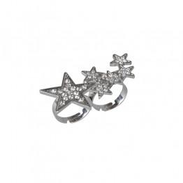 Sølvring med små stjerner i sten