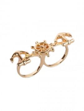 Guld ring med anker og ror