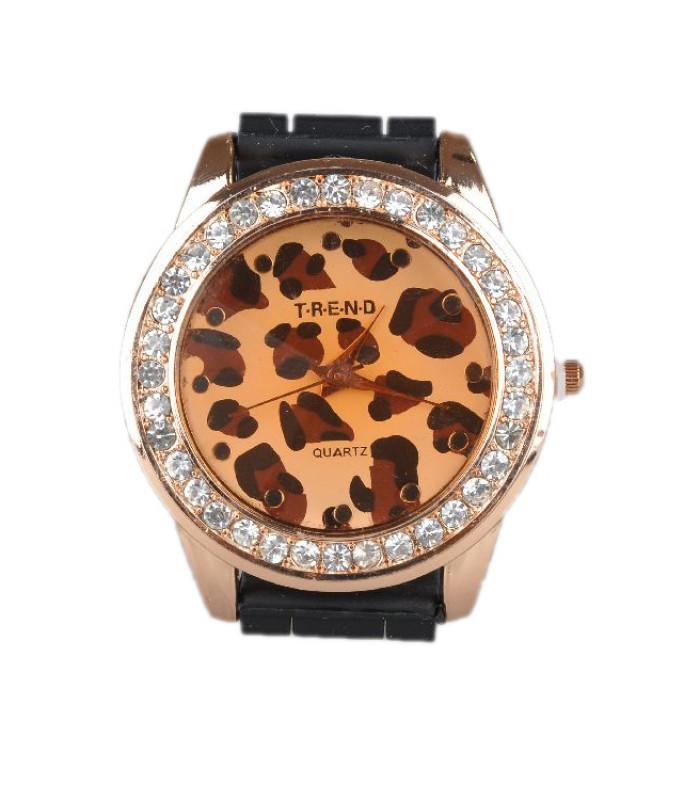 Sort ur med leopard mønster på urskiven