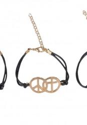3 sorte armbånd med forskellige sølvvedhæng