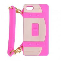 Hvidt og pink mobil cover formet som taske med hank