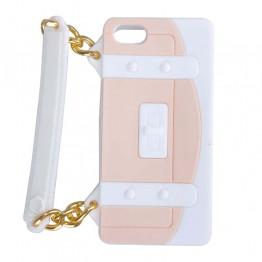 Hvidt og creme mobil cover formet som taske med hank