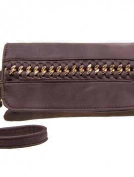 Brun clutch med dekorativ kæde