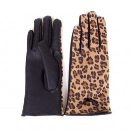 Skindhandsker med sort inderside og leopard yderside