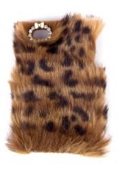 Cover til Iphone4 med kunstig leopard pels