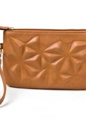 Clutch i lys brun med 3D mønstre
