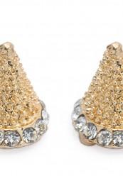 Smuk ørering med sten i guld og simili.