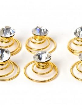 Små guld spiral hårnåle med similisten