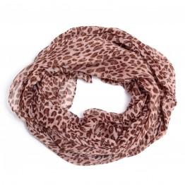 Brunt tubetørklæde med leopard print