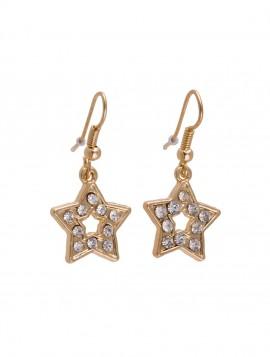 Stjerne øreringe med simili sten. Guld look