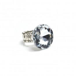 Sølvring med stor lyseblå sten