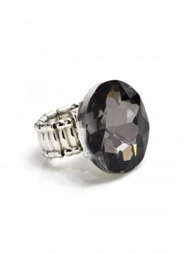 Sølvring med stor mørk sten