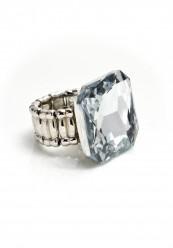 Sølvring med stor klar similie firkantet sten