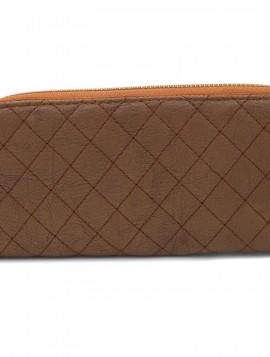 Brun pung med ternet mønster
