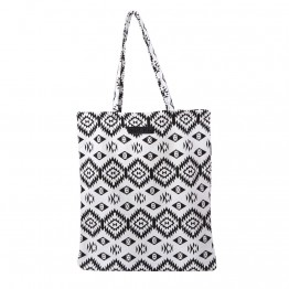 Hvid shopper med sort takket mønster