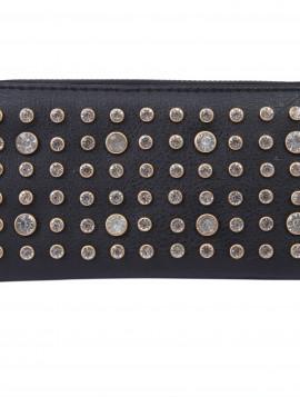 sort pung med simili sten og plads til kort