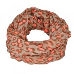 Brun/ lyserødt leopard tørklæde